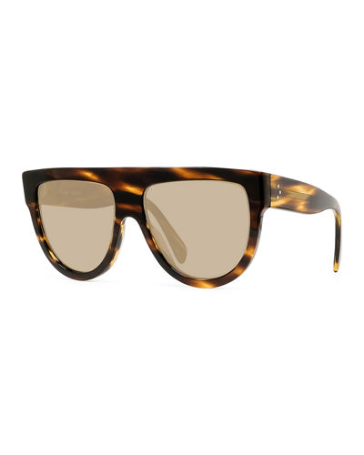 Flattop Gradient Shield Sunglasses, Black Pattern