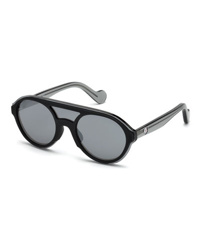Rounded Shield Mirrored Sunglasses