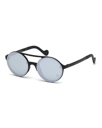 Round Mirrored Overlay-Lens Sunglasses