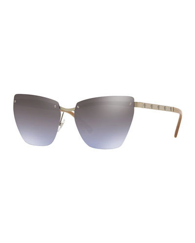 Rimless Medusa-Arm Metal Sunglasses