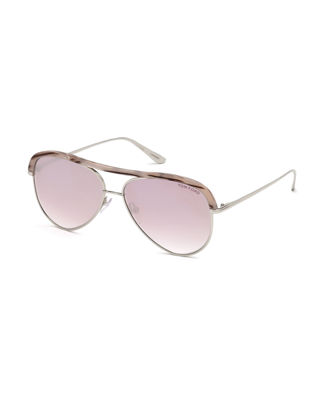 Sabine 60Mm Aviator Sunglasses - Shiny Rose Gold/ Brown Mirror, Red