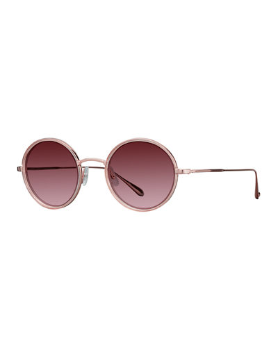 Garrett Leight Playa Round Mirrored Sunglasses