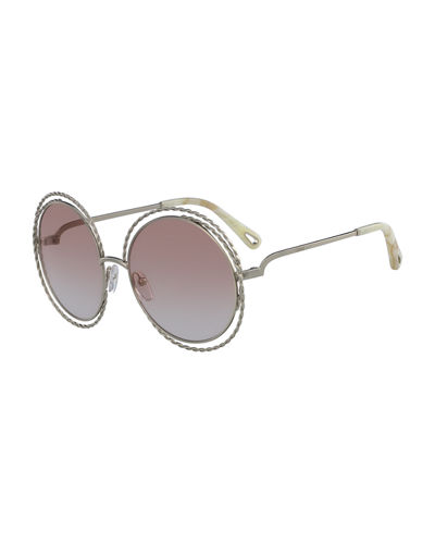 Chloe Carlina Round Concentric Metal Sunglasses