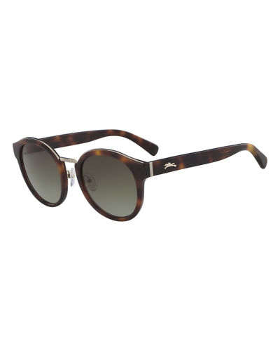 Pantos Round Acetate & Metal Sunglasses