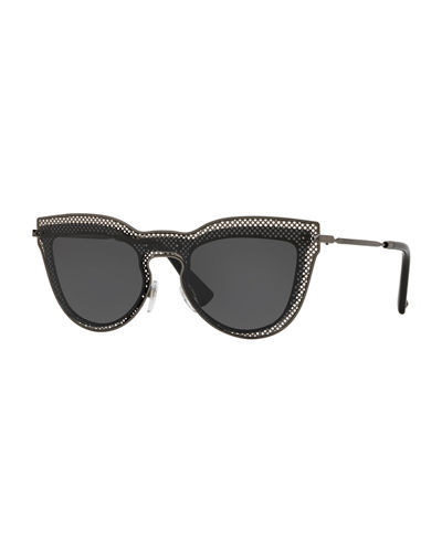 Metal Mesh Cat-Eye Sunglasses