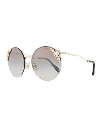 Stone-Trim Semi-Rimless Gradient Round Sunglasses