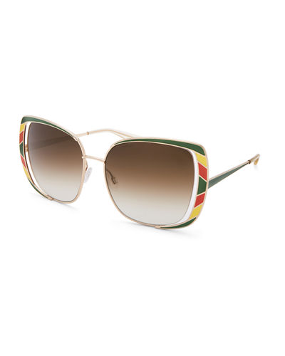 Arlequin Square Open-Temple Sunglasses