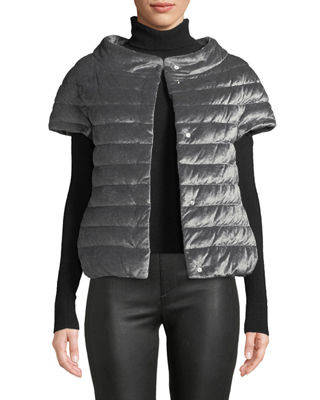 HERNO Quilted Velvet Cap-Sleeve Poncho-Style Puffer Jacket in Pewter