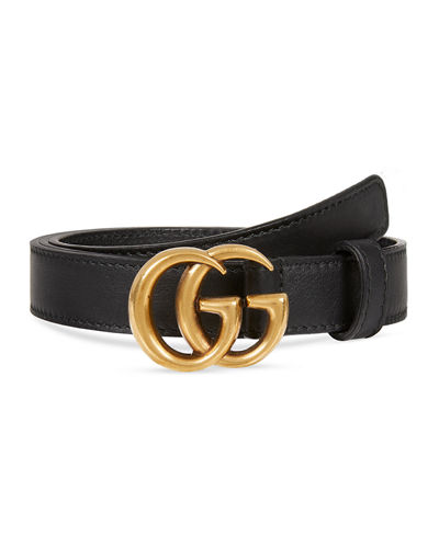 Thin Leather GG-Buckle Belt