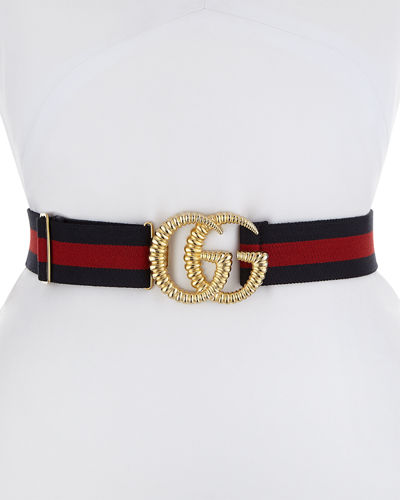 Piccadilly Moon Elastic Web Belt w/ Textured GG Buckle