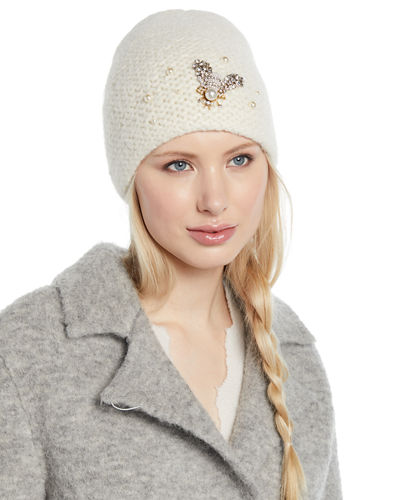 Embellished Bee Knit Beanie Hat
