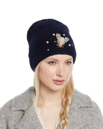 Embellished Bee Knit Beanie Hat Quick Look cb6a79a195df
