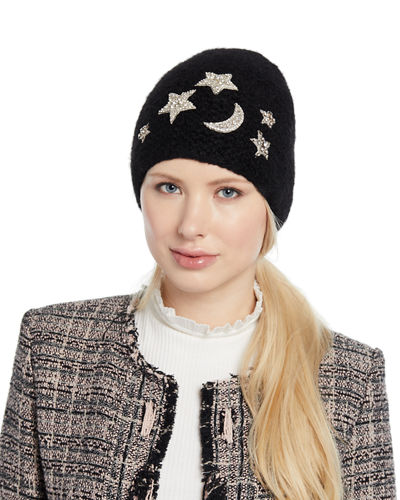 9cb9dbef13b33 Galexia Stars   Moon Embellished Beanie Hat Quick Look. BLACK  HEATHER. Jennifer  Behr