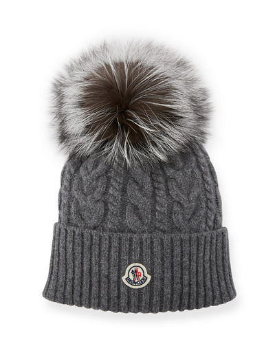 Cable-Knit Beanie Hat w/ Fur Pompom