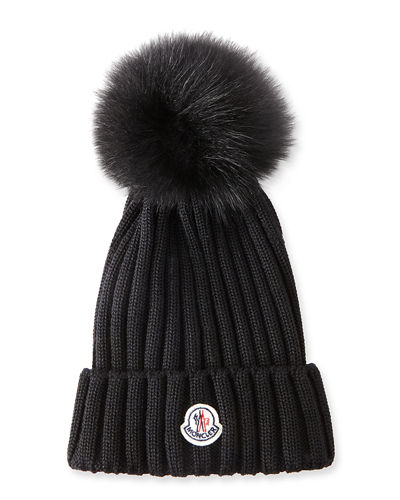 Moncler Ribbed-Knit Beanie Hat w Fur Pompom 0164523cd50