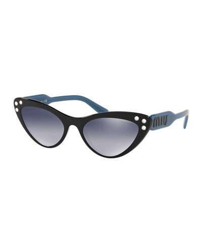 Two-Tone Mirrored Acetate Cat-Eye Sunglasses