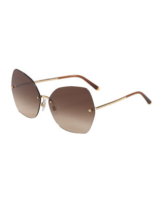 Rimless Gradient Butterfly Sunglasses, Gold/Brown