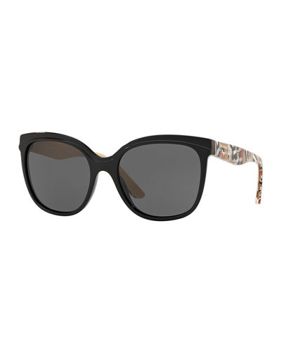 Gradient Butterfly Sunglasses w/ Check Print Trim