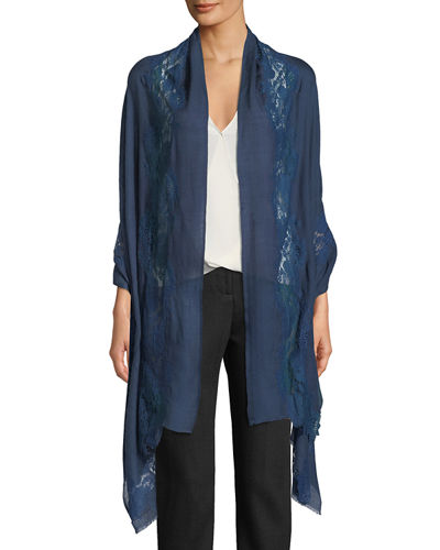 Blue Tonal Turn Lace-Trim Stole