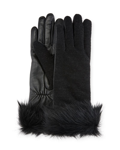 Knit & Leather Gloves w/ Fur Cuffs