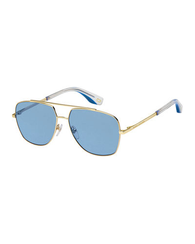 Square Metal Aviator Sunglasses
