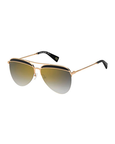 Inlay-Brow Metal Aviator Sunglasses