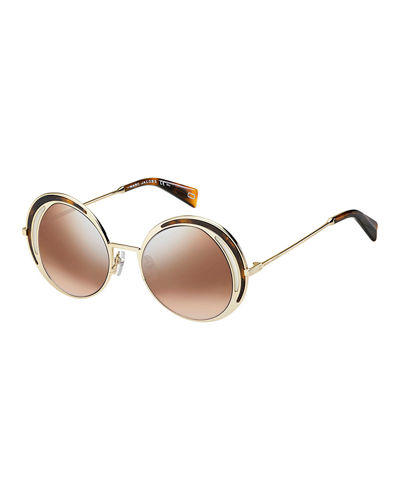 Round Metal Sunglasses with Inlaid Rim Detail