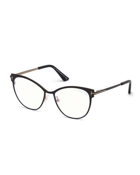 28b7c0353b7de Tom Ford Blue Light-Blocking Metal Butterfly Optical Frames In Black Rose  Gold