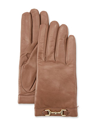 Napa Leather Cashmere-Lined Gloves W/ Horsebit in Stormy Sky