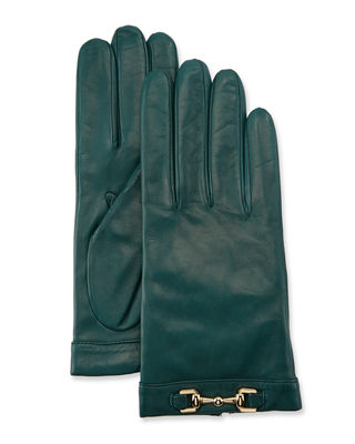 Napa Leather Cashmere-Lined Gloves W/ Horsebit in Conifer