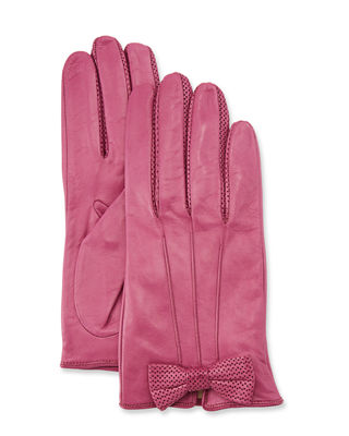 Napa Leather Gloves W/ Perforated Bow in Bouganville