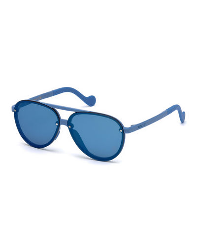Aviator Mirrored Overlay-Lens Sunglasses