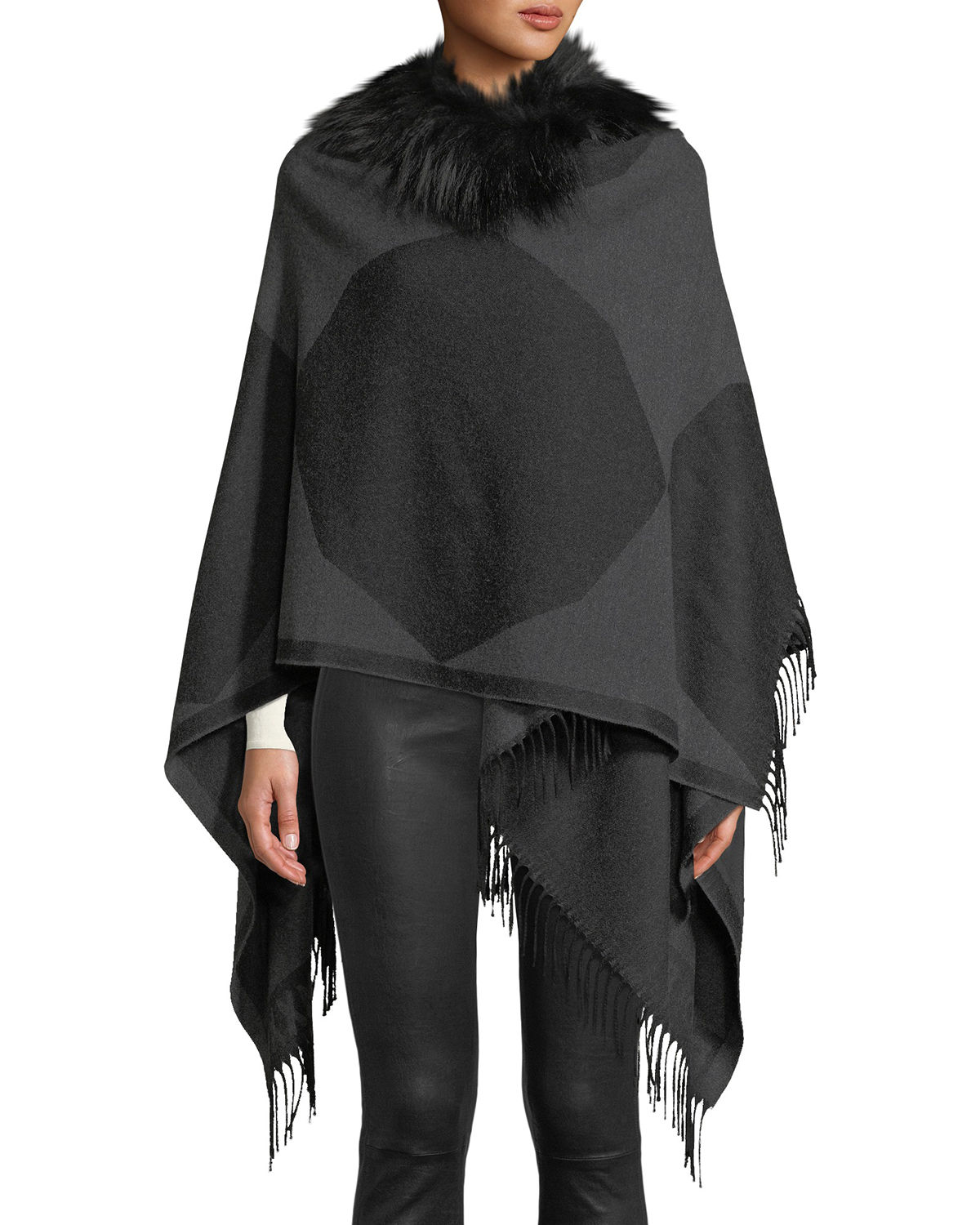 Fendi Coats COLORBLOCK WOOL PONCHO WITH FUR COLLAR