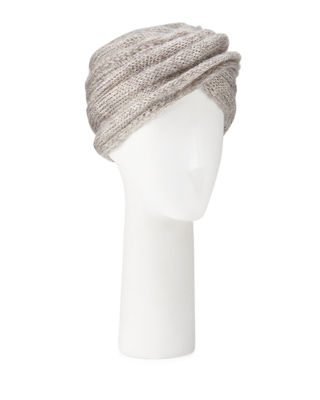 MARZI Mohair-Blend Knit Turban in Light Gray