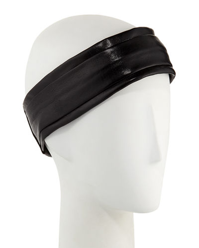 Narrow Leather Pleated Headband