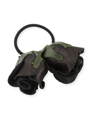 EPONA VALLEY Double Rose Leather Ponytail Holder in Black