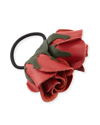 EPONA VALLEY Double Rose Leather Ponytail Holder in Red