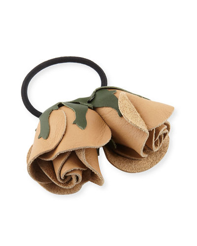 Double Rose Leather Ponytail Holder