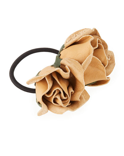 Isa Mini Leather Rose Ponytail Holder
