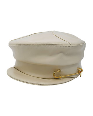 Georgie Leather Newsboy Hat W/ Safety Pin in Alabaster
