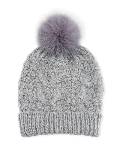 Cable Knit Beanie Hat w/ Fur Pompom