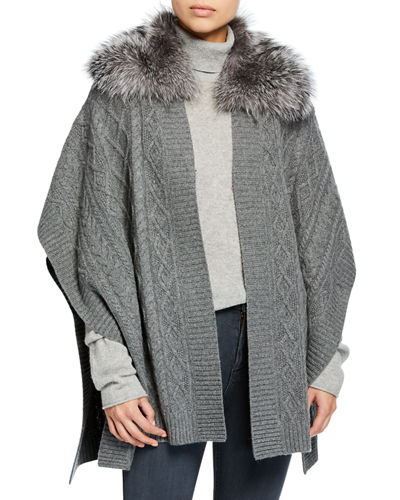Cable Knit Cashmere Cape w/ Fur Collar
