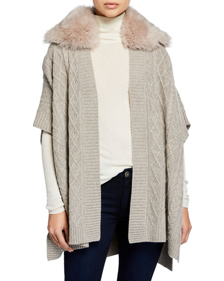Sofia Cashmere CABLE KNIT CASHMERE CAPE W/ FUR COLLAR