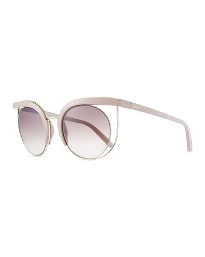Negative Space Metal & Plastic Cat-Eye Sunglasses