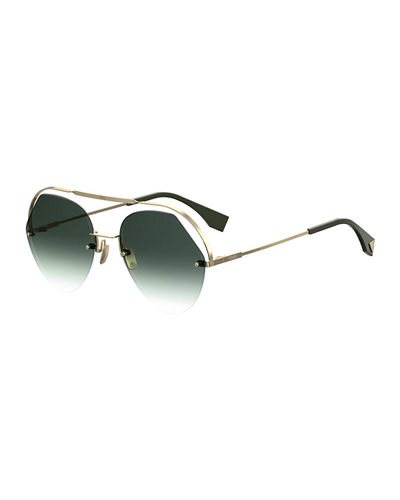 Rimless Aviator Sunglasses w/ Floating Brow Bar