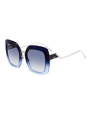 53Mm Square Gradient Sunglasses - Blue Azure, Dark Blue