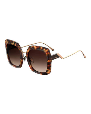 53Mm Square Gradient Sunglasses - Dark Havana, Brown Gradient