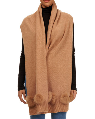 Knit Cashmere Stole w/ Fur Pompoms