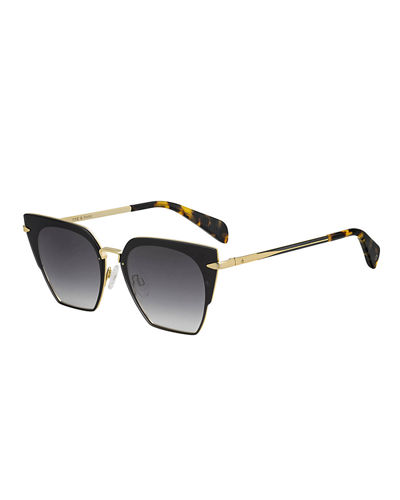 Semi-Rimless Mirrored Square Sunglasses