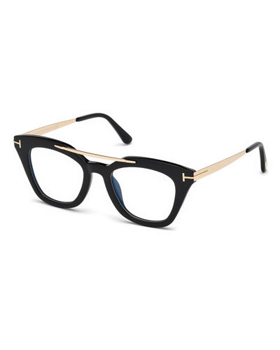 TOM FORD Anna Square Acetate/Metal Sunglasses